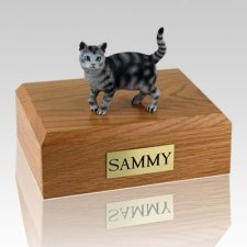 Tabby Silver Standing Cat Cremation Urns