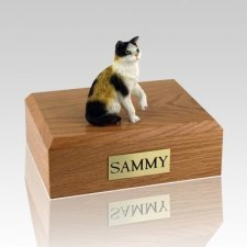 Calico Sitting Cat Cremation Urns