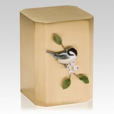 Chickadee on Dogwood Cremation Urn