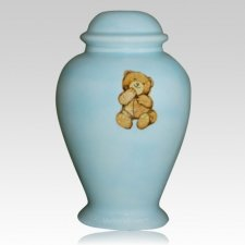 Blue Teddy Bear Cremation Urn