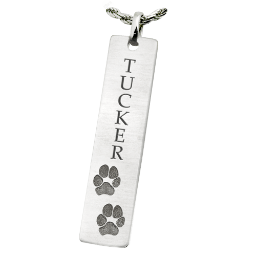 Classic Vertical Double Paw Sterling Keepsake