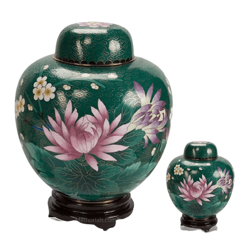Green Copper Cloisonne Cremation Urns