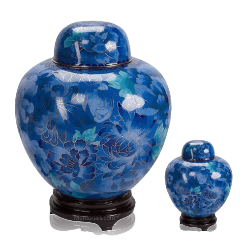 Blue Copper Cloisonne Cremation Urns