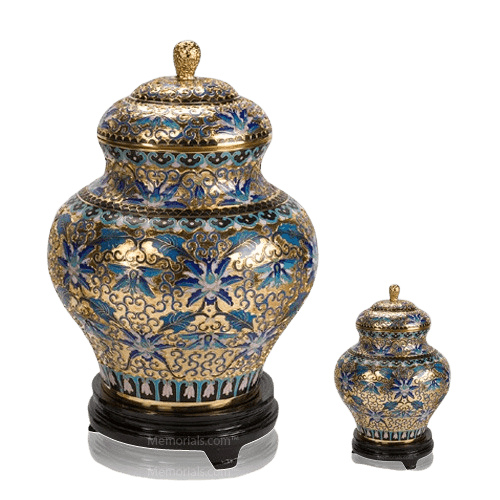 Gold Copper Cloisonne Cremation Urns