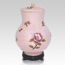 Blissful Rose Large Cloisonne Urn