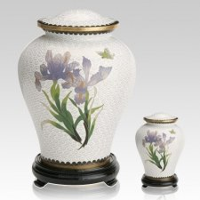 White Iris Cloisonne Cremation Urns