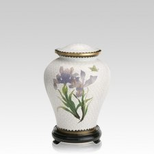 White Iris Medium Cloisonne Urn