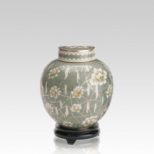 Pear Blossom Medium Cloisonne Urn