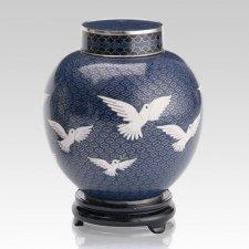 Peace Doves Large Cloisonne Urn