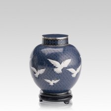 Peace Doves Medium Cloisonne Urn