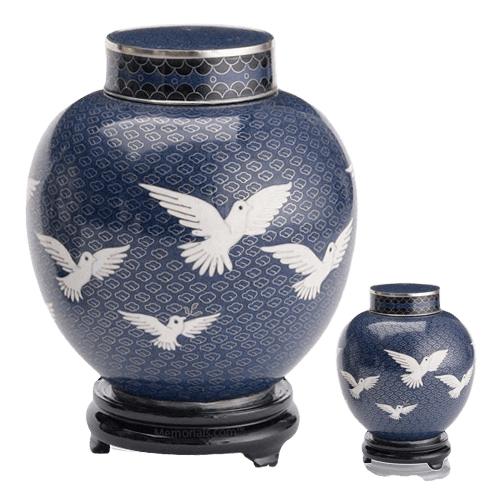 Peace Doves Cloisonne Cremation Urns