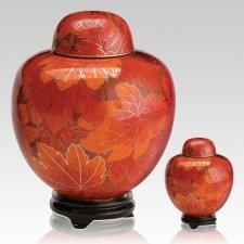 Fall Leaf Cloisonne Cremation Urns