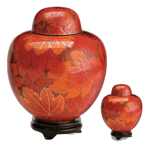 Fall Leaf Cloisonne Cremation Urns
