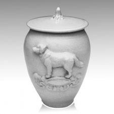 Doggy White Ceramic Cremation Urn