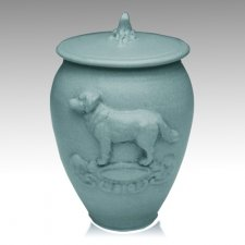 Doggy Variegated Blue Ceramic Cremation Urn