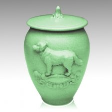 Doggy Celadon Blue Ceramic Cremation Urn