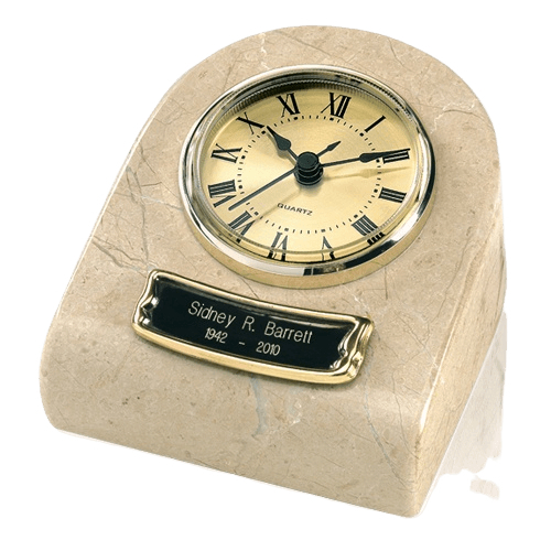 Marble Clock Cream Keepsake Urn