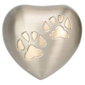 Paw Print Silver Pet Heart Urn