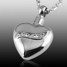 Crystal Swirl Heart Cremation Jewelry