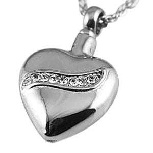 Crystal Swirl Heart Cremation Jewelry