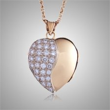 Diamond Pavee Swirl Heart Locket Cremation Jewelry