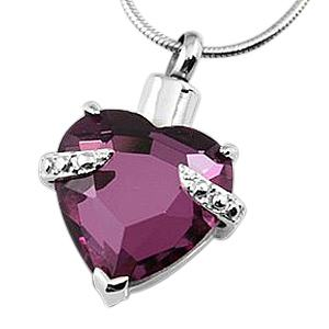 Purple Heart Necklace For Ashes