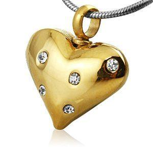 Crystal Stone Heart Cremation Jewelry