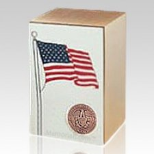 Navy Bronze Flag Cremation Urn