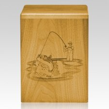 Fishing Sportsman Oak Cremation Urn