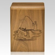 Fishing Sportsman Walnut Cremation Urn