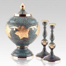 Marble Patina Memorial Cremation Urn Set