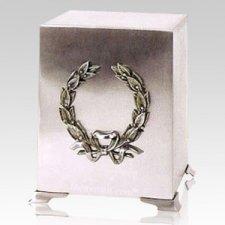 Platinum Wreath Cube Cremation Urns