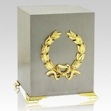 Gold Wreath Cube Cremation Urns