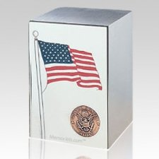 Army Stainless Steel Flag Cremation Urn