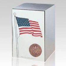 Navy Stainless Steel Flag Cremation Urn