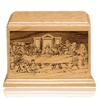 Last Supper Wood Cremation Urn