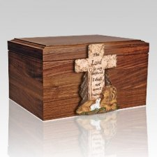 Cross Figurine Wood Cremation Urn