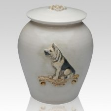 German Shepherd Ceramic Cremation Urn
