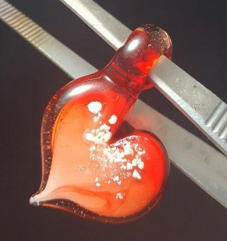 Deep Red Heart Glass Pendant