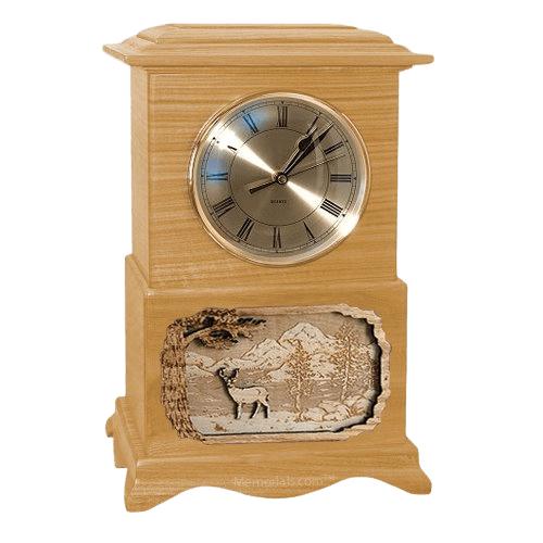 Deer Clock Oak Cremation Urn