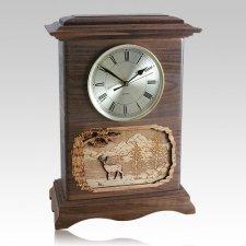Deer Clock Walnut Cremation Urn