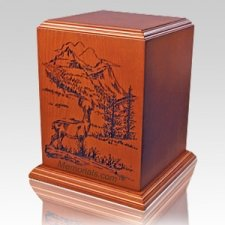 Deer Forest Wood Cremation Urn