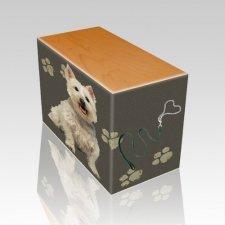 Dog Prints Oak Pet Picture Urn