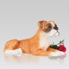 Tan Boxer Dog Cremation Urn