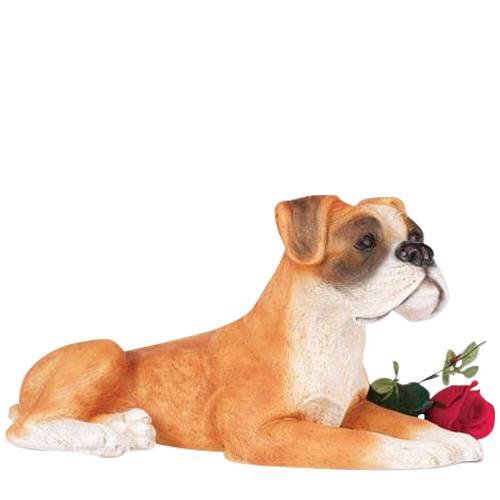 Tan Boxer Dog Cremation Urn