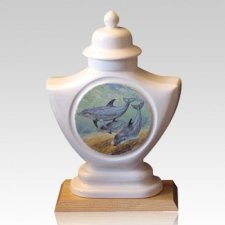 Dolphin Ceramic Cremation Urn