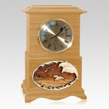 Dolphins Clock Oak Cremation Urn