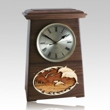 Dolphins Astoria Clock Walnut Cremation Urn