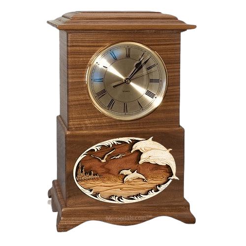 Dolphins Clock Walnut Cremation Urn