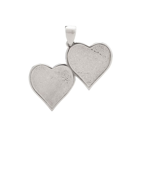 Double Heart Fingerprint White Gold Keepsake